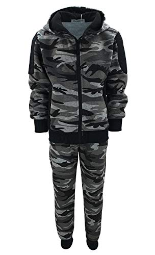 Fashion Boy Jungen Army Sweatanzug Tarn Freizeitanzug in Grau Camouflage, Gr. 122, JF280.8