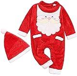 FANCYINN Disfraz de Papá Noel para bebés y niñas Mameluco de Navidad + Conjunto de Sombrero Traje de Mono navideño Infantil 9-12 Meses
