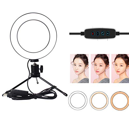 LED-ringlicht met statief voor YouTube en make-up, USB-dimbaar 3 lichtmodi en 10 helderheidsniveaus Beauty Lamp op camera Videolampen,20CM