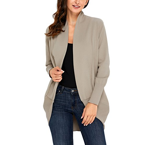 YOUR GALLERY Women's Soft Long Sleeve Open Front Cocoon Cardigan Coats,Khaki,M