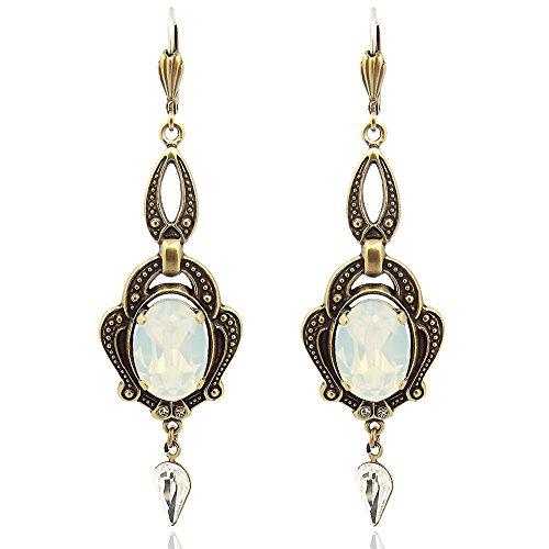 Jugendstil Ohrringe Kristallen von Swarovski® Gold White Opal NOBEL SCHMUCK