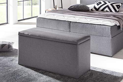 Furniture for Friends Möbelfreude® Bettbox Nelli Anthrazit | Aufbewahrungsbox für Boxspringbetten und Polsterbetten | Sitztruhe100 x 40 x 51 cm