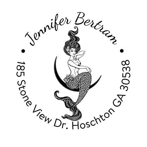 Custom Address Stamp Self Inking Personalized Mermaid Design Handmade Business Rubber Stamper