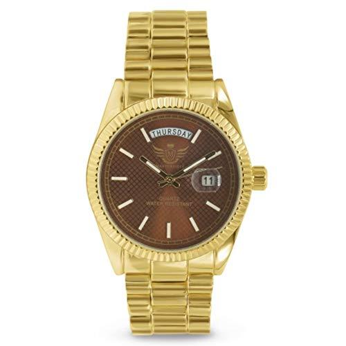 Reloj de Estilo Ejecutivo para Hombre con Fecha y día Dorados