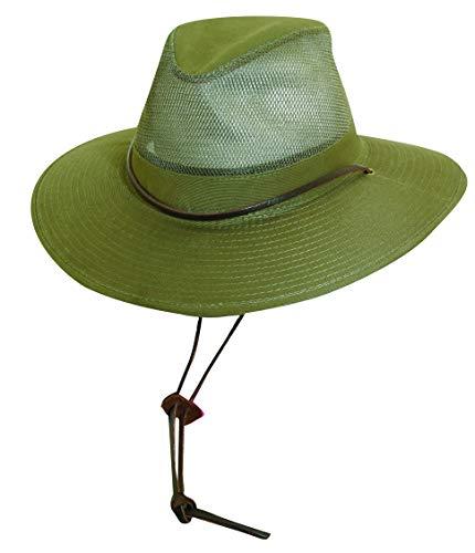 Dorfman Pacific Men's 1 Piece Brushed Twill Mesh Safari Hat with Genuine Leather Trim (L)