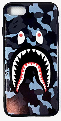 Shark Teeth Bape Camo Print Hard Shell Silicone TPU Case for iPhone 7/8/X/XS/XSMax Bape Hypebeast Supreme Gift for Girl Boy Street Fashion (Blue, 7/8 Plus)