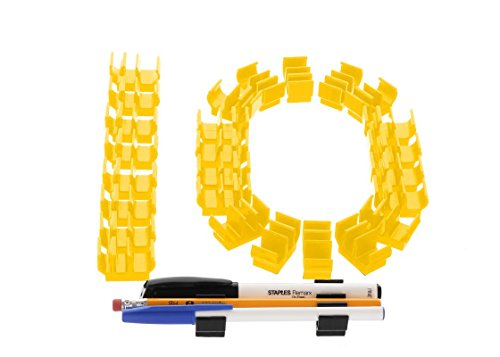 (10 pk) Yellow Self Adhesive Pencil Pen and Marker Holder Adhesive Clip - Best Mount Organizer to Stick on Work Bench, Saw Table, Job Box, Ladder, etc. - Great for Contractor, Electrician, Carpenter