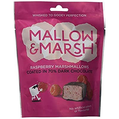 mallow & marsh mallow and marsh raspberry coated in 70% dark chocolate covered marshmallow sharing bag pouch, pack of 6 (100 g) Mallow & Marsh Raspberry Coated in 70% Dark Chocolate Marshmallow Sharing Bag – Multipack 6 x 100g 414HjzvNsBL