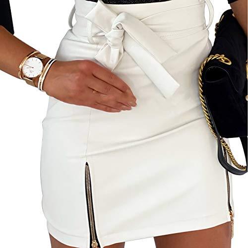 Geagodelia - Falda de piel para mujer, con cremallera, cintura alta, sexy, minifalda de piel sintética Blanco S