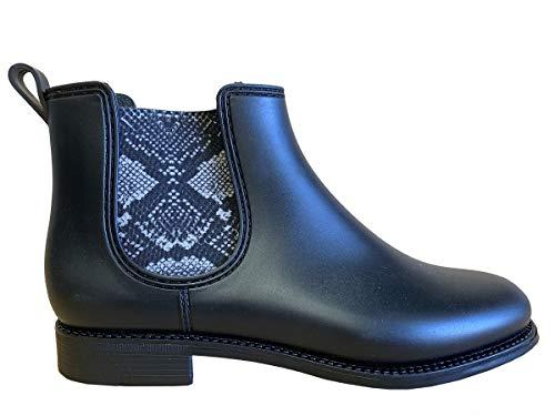 Henry Ferrera Womens Marsala Snake Short Rain Boots, Adult, Black Matt, 9 M US