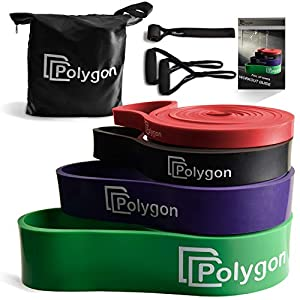 Polygon Pull Up Assist Bands, Resistance Exercise Band, Heavy Duty Assistance Loop Mobility Band, for Body Stretching, Muscle Toning, Powerlifting, Resistance Training(Set) from Polygon