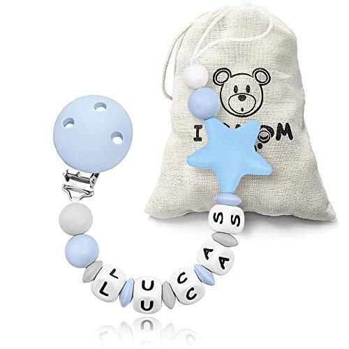 I LOVE MOM Cadena de Chupete con Nombre Cadenas para Chupetes de Personalización Dentición de Silicona Regalos para Recién Nacidos Niños y Niñas (Estrella Azul con Bolsa)