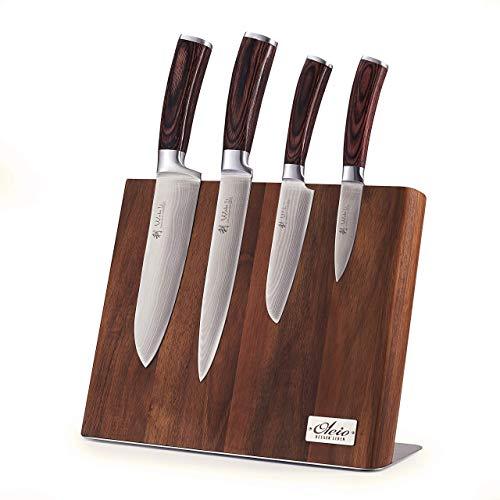 Wakoli 4er Damastmesser Profi Set mit Holzbox mit Holz Messerbrett Set, VG-10, Kochmesser,Damast Küchenmesser, magnetisches Messerbrett