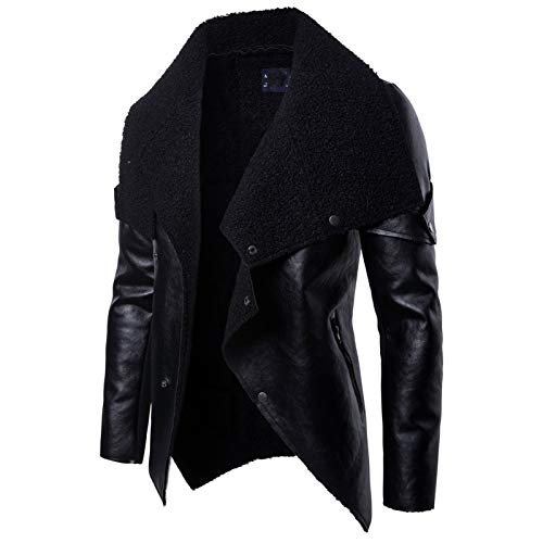 Mr.BaoLong&Miss.GO Autumn and Winter Mens Plus Size Leather Mens Pu Leather Jacket European Size Motorcycle Leather Jacket Fur Collar Jacket Jacket Black