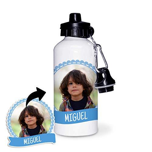 Kadoo Regalos Botella de Aluminio Personalizada Infantil con Foto, Lazo Y Bandera (600ml)