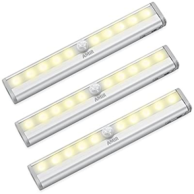 AMIR Motion Sensing Closet Lights, 3 Pack DIY Stick-on Anywhere Portable 10-LED Wireless Cabinet Night/Stairs/Step Light Bar
