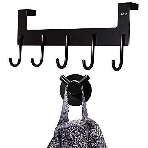 Over The Door Hook 5Hooks Robe Towel Hook Towel Racks for Bathroom Black Morden
