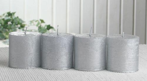 SET: 4x Rustik-Stumpenkerze, 5 x 5 cm Ø, silber-metallic