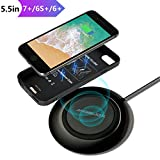 Wireless Charger Set for iPhone 7 Plus/6 Plus/6s Plus(Only for Plus), With Wireless Charging Pad and 5.5' Qi Wireless Charging Case(No Battery),7.5W Fast Cordless Charger for iPhone XS Max/XS/X/8 Plus