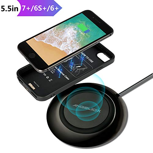 """Wireless Charger Set for iPhone 7 Plus/6 Plus/6s Plus(Only for Plus), With Wireless Charging Pad and 5.5"""" Qi Wireless Charging Case(No Battery),7.5W Fast Cordless Charger for iPhone XS Max/XS/X/8 Plus"""