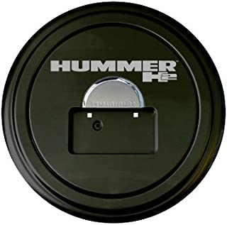Hummer H2 Rigid Tire Cover & Chrome Dome - Hummer H2 Logo - (Hard Plastic Face & Fabric Vinyl Band) - Fits 2005-2010 Models & Factory Spare Tire Mounted License Plate