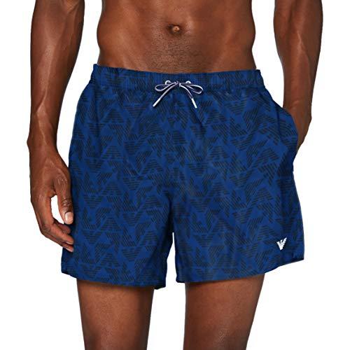 Emporio Armani Swimwear Herren Boxer Beachwear Allover Eagle Badehose, Blau (Cobalto 04433), X-Large (Herstellergröße: 54)