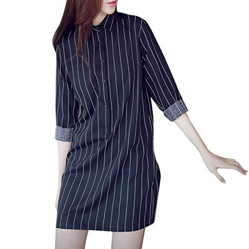 KANGMOON Kleid Damen Mode Frauen Hemd Kleid Langarm Revers Streifen Kleid Freizeit Kleid