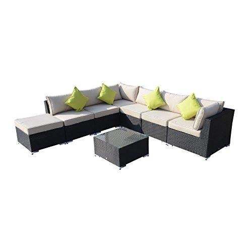 Outsunny 8pc Rattan Sofa Garden Furniture Aluminium Outdoor Patio Set Wicker Seater Table - Black