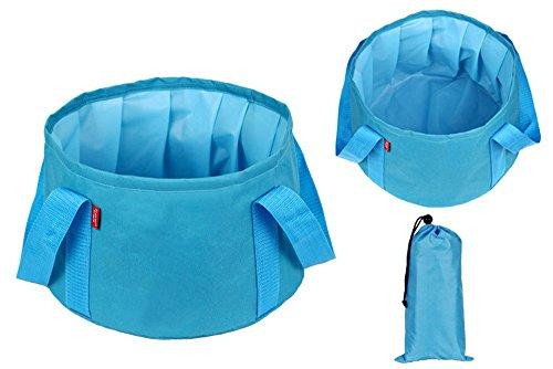 hunpta portátil plegable lavabo cubo lavabo Camping agua Pot, azul