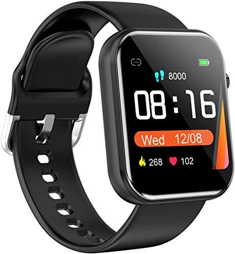 Smartwatch,1.54 Zoll Touch-Farbdisplay Fitness Armbanduhr mit Pulsuhr Fitness Tracker IP68 Wasserdicht Sportuhr Smart Watch mit Schrittzähler,Schlafmonitor,Stoppuhr für Damen Herren Kinder