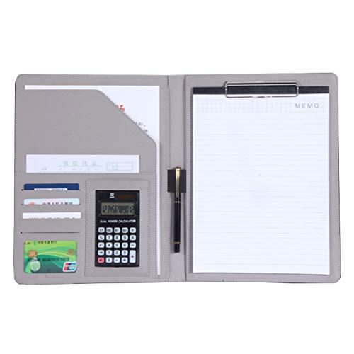JEBBLAS A4 バインダー クリップボード 多機能フォルダー 12位電卓付き 書類契約フォルダー 会議パッド ビジネスファイル 収納ポケット ペンホルダー付き 高級PUレザー オフィス用品 入職プレゼント(灰色)