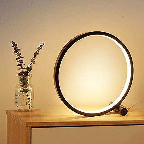 Lámparas de mesa y mesilla de noche Lámpara de mesa LED para la lámpara de escritorio acrílico circular para dormitorio para sala de estar Negro / Blanco Lámpara de noche regulable Lámpara de noche re