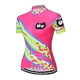 Weimostar Maillot de ciclismo para mujer, camiseta deportiva, blusa de manga corta para bicicleta, camiseta para exterior, equitación, chaqueta de bicicleta, color rosa, fluorescente, talla XXL