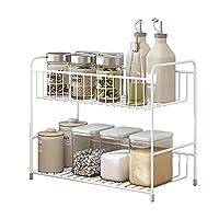 Eervff オイル、塩、ソース、酢のボトル用の2層キッチンデスクトップスパイスラック収納ラック、白、30 * 14 * 26CM