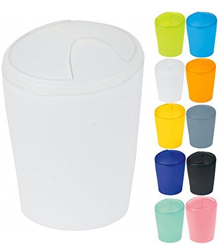 Spirella Kosmetikeimer Move Abfalleimer Schwingdeckeleimer | Kunststoff | 2 Liter | Frosty Weiß