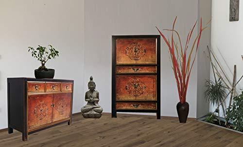 OPIUM OUTLET Combinación de armario chino y cómoda armario de boda, aparador de estilo colonial, estilo shabby chic, motivos coloridos (rojo y naranja)