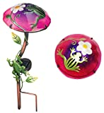 alles-meine.de GmbH Solar Leuchte Pilz  Blume mit Frosch  - pink / violett - mit LED Licht - handbemaltes Glas - Garten Wetterfest für Außen - Gartendeko Solarleuchte Solarbetr..