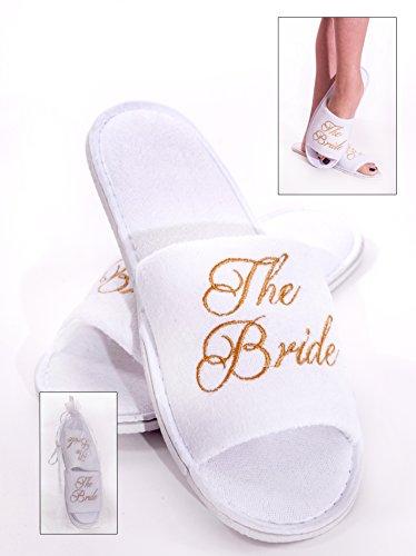Alandra Gifts SLIP-BTB - Zapatillas de spa para novia, unisex, color blanco y dorado, talla única