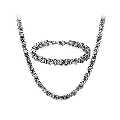 JewelryWe Schmuck Edelstahl Ketten Set von Halsketten und Armketten für Herren silberweißen Armbändern 8mm breit und 21,5 cm für Armband, 24 Zoll für Halskette