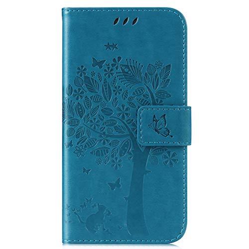 ISAKEN Compatibile con Samsung Galaxy J1 2016 Custodia, Libro Flip Cover Portafoglio Wallet Case Albero Design in Pelle PU Protezione Caso con Supporto di Stand/Carte Slot/Chiusura - Blu