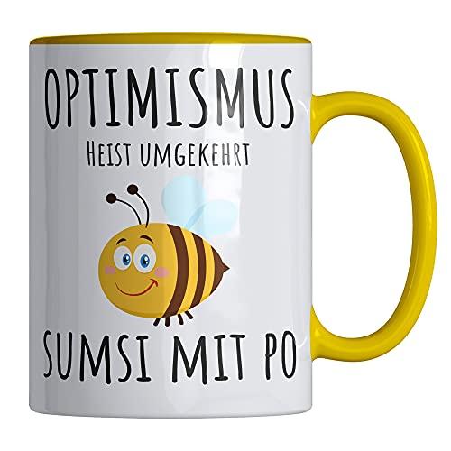 Kaffeetasse mit Spruch 'Optimismus heist umgekehrt SUMSI MIT PO' lustige Tasse - 330 ml - Spülmaschinen- und Mikrowellen geeignet - stylische Spruchtasse von Your Gravur
