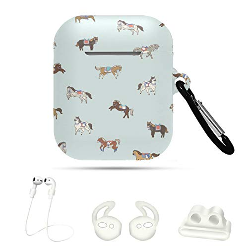 AirpodsCaseForBoys Horse Vivildy Running Animal 5 In 1 AirpodHolderCase AirpodWaterproofCaseCover For Airpods 1&2 with Keychain/Strap/Ear Hook/Watch Band Holder
