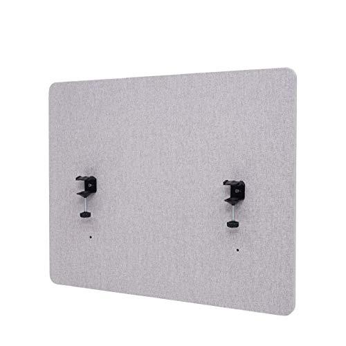 Mendler Akustik-Tischtrennwand HWC-G75, Büro-Sichtschutz Schreibtisch Pinnwand, doppelwandig Stoff/Textil - 75x60cm grau