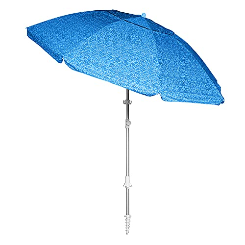 Blue Floral Print 8 Foot Beach Umbrella with Sand Anchor. Fully-Telescoping. UPF 50 Plus Rating. Tilting 2-Piece Design. Includes 4-Prong Hanging Hook, Corkscrew Anchor and Carry Bag