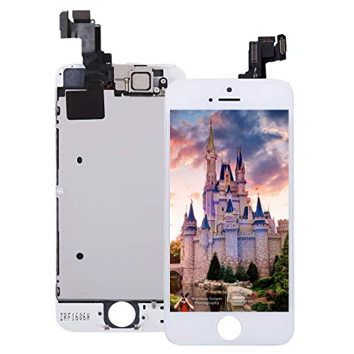 Pre-Assembled Screen Replacement for iPhone 5s White, LCD Display and Touch Screen Digitizer Replacement for A1453, A1533, A1457, A1530 w/Facing Proximity Sensor, Ear Speaker, Front Camera and Tools