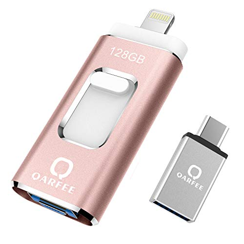 Flash Drive 128GB,Unità a Penna UV-Share Tipo C USB Micro USB Scheda di Memoria di Archiviazione Esterna Compatibile con Disco U per iPhone/iPad/iPod/Mac/iOS/Android Cellulare e PC,Nero