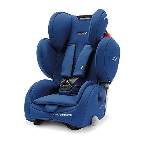 Recaro Kids, Young Sport Hero Kindersitz, Auto Kindersitz (9-36 kg), Gruppe 1-2-3, Komfort und Sicherheit, Universeller Einbau, Verstellbar, Patent Hero Sicherheitssystem, Core Energy Blue