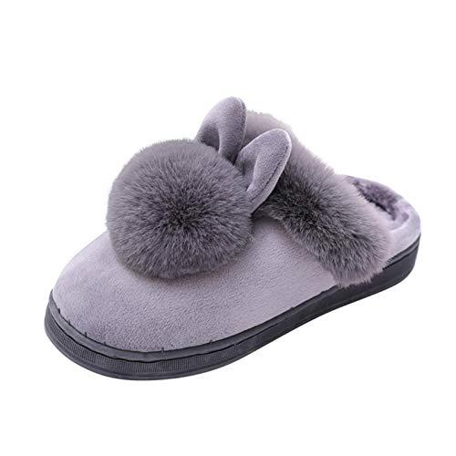 CCLIN Invierno Mujer Zapatillas Invierno Invierno casa Peludo Conejo Orejas Interior Zapatillas Suave Comodidad Calzado Zapato Mujer cuñas Zapatos-Gray,39