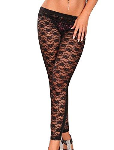 Gladiolus Pantalones Mujer Leggings De Encaje Floral Leggins Pantalones De PU Cuero