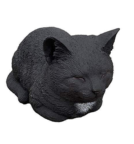 Stone and Style Steinfigur Katze ruhend schwarz frostfest wetterfest Steinguss